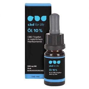CBD kaufen - CBD Öl 10 Prozent - CBD for life - Verpackung und Flasche