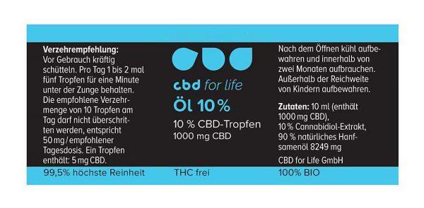 CBD kaufen - CBD Öl 10 Prozent - CBD for life -Verpackung - label