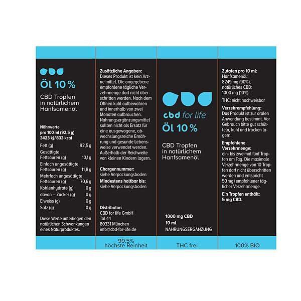 CBD kaufen - CBD Öl 10 Prozent - CBD for life -Verpackung alle Ansichten