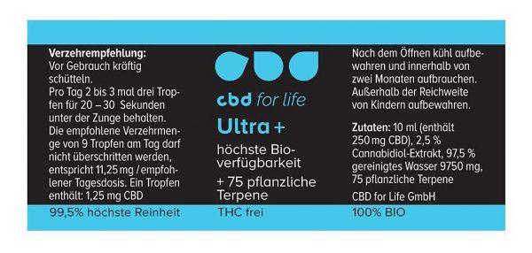 CBD Wirkung mit CBD Ultra plus bessere Wirkung - Label