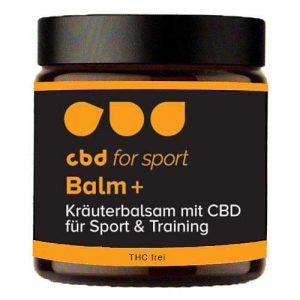CBD Balm plus - Glastiegel mit Etikett von vorne für CBD for sport