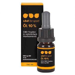 CBD Öl 10 Prozent - CBD for sport - Verpackung und Flasche